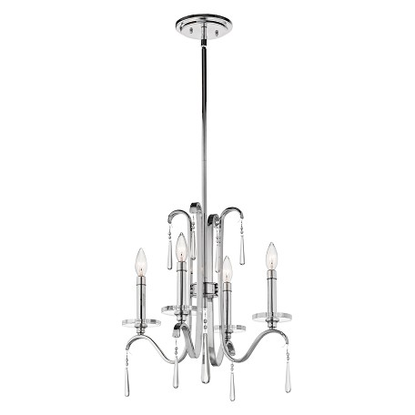 Kichler Kichler 43287Ch Chrome Tara Single-Tier Candle-Style Chandelier With 3 Lights