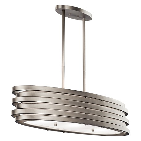 Kichler Brushed Nickel Roswell 3-Bulb Indoor Pendant With Oval Metal Shade