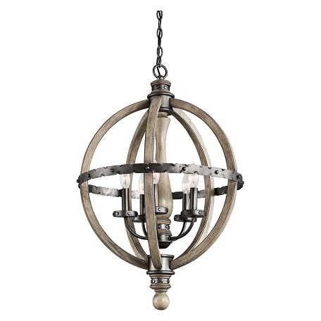 Kichler Distressed Antique Gray Evan Single-Tier Globe-Style Chandelier With 5 Lights