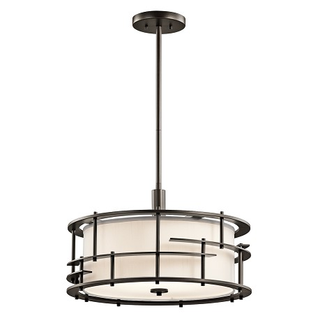 Kichler Olde Bronze Tremba 4-Bulb Indoor Pendant With Round Fabric Shade