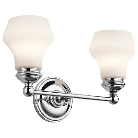 Kichler Chrome Currituck 16In. Wide 2-Bulb Bathroom Lighting Fixture