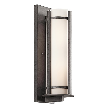 Kichler Anvil Iron Camden 2 Light 20In. Wide Outdoor Wall Sconce With Etched Glass Shade