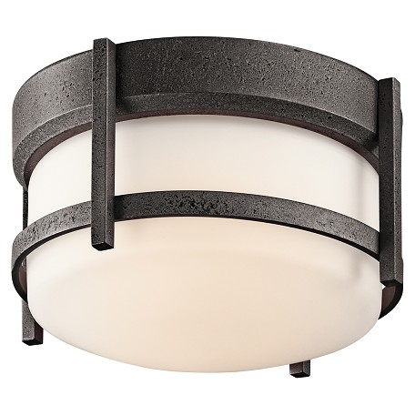 Kichler Anvil Iron Single Light Fluorescent Outdoor Flush Mount Ceiling Fixture