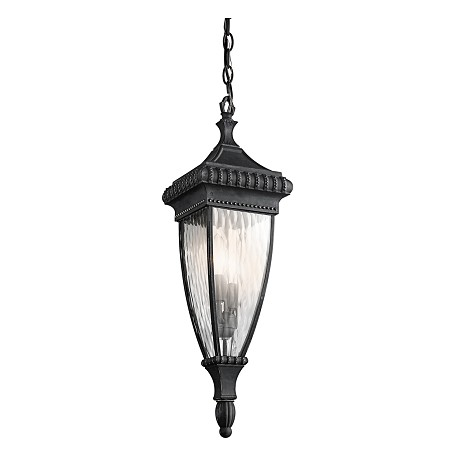 Kichler Black W/Gold Two Light Outdoor Pendant From The Venetian Rain Collection