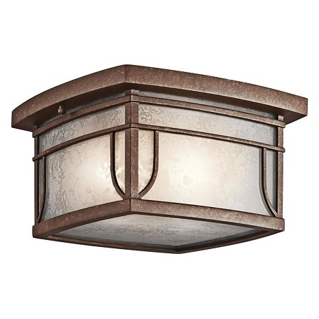 Kichler Aged Bronze With Vetro Mica Glass 2 Light Outdoor Ceiling Fixture