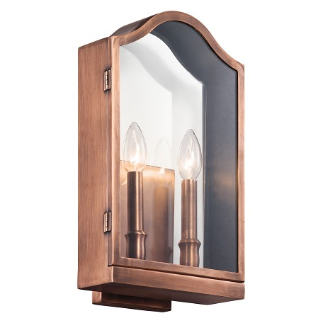 "Kichler Kichler 49155Aco Antique Copper Antico Collection 2 Light 16"" Outdoor Wall Light"
