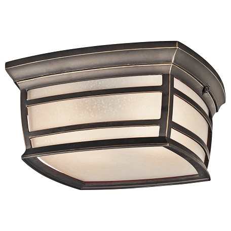 Kichler Rubbed Bronze 2 Light Outdoor Ceiling Fixture From The Mcadams Collection