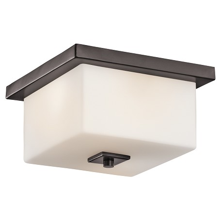 Kichler Bronze 2 Light Square Outdoor Ceiling Fixture With Square Cased Opal Shade
