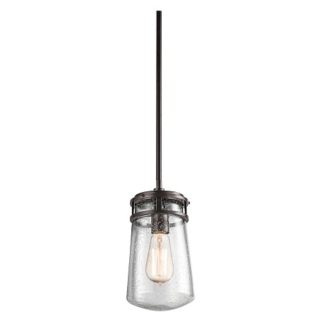 Kichler Architectural Bronze Lyndon 1 Light 6In. Wide Pendant With Seedy Glass Shade