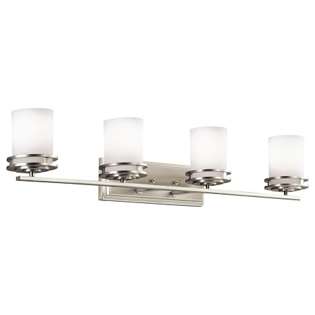 Kichler Brushed Nickel Hendrik 33.75In. Wide 4-Bulb Bathroom Lighting Fixture