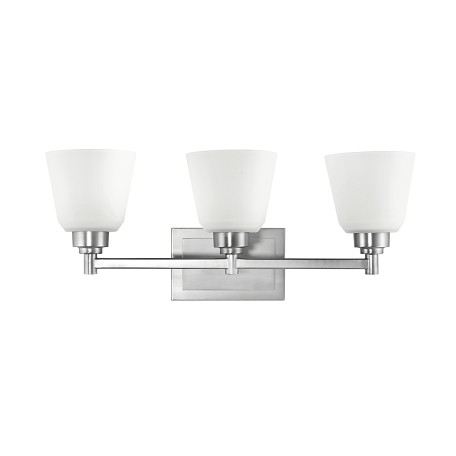 Kichler Brushed Nickel Berwick 22In. Wide 3-Bulb Bathroom Lighting Fixture