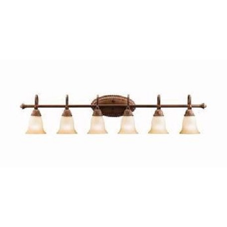 "Kichler Tannery Bronze With Gold Larissa 48"" Wide 6-Bulb Bathroom Lighting Fixture"
