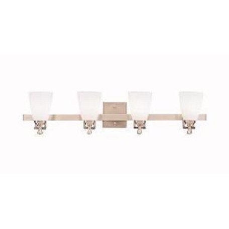 Kichler Brushed Nickel Uptown 33In. Wide 4-Bulb Bathroom Lighting Fixture