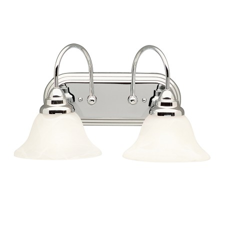 Kichler Chrome 18In. Wide 2-Bulb Bathroom Lighting Fixture