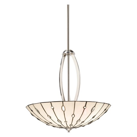Kichler Polished Nickel Cloudburst 4-Bulb Indoor Pendant With Bowl-Shaped Glass Shade