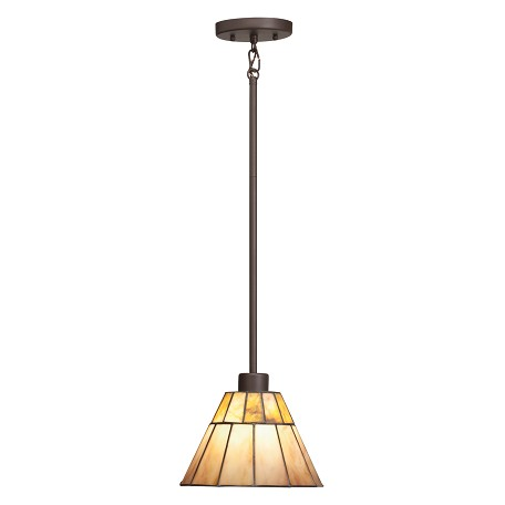 Kichler Olde Bronze Morton Single-Bulb Indoor Pendant With Cone-Shaped Glass Shade
