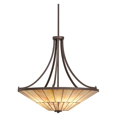 Kichler Olde Bronze Morton 4-Bulb Indoor Pendant With Bowl-Shaped Glass Shade