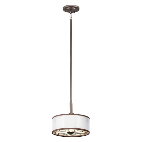 Kichler Olde Bronze Louisa Single-Bulb Indoor Pendant With Drum-Shaped Fabric Shade