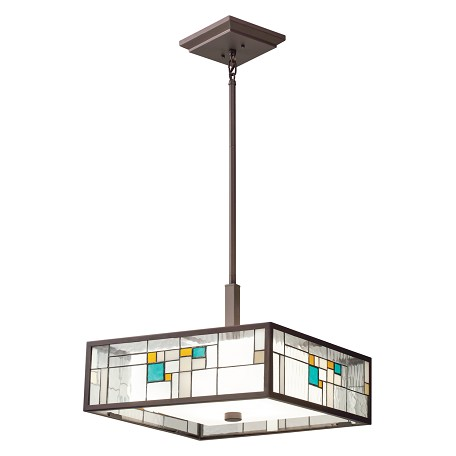 Kichler Olde Bronze Caywood 4-Bulb Indoor Pendant With Rectangular Glass Shade