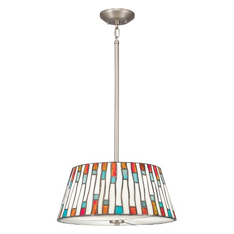 Kichler Brushed Nickel Carlisle 3-Bulb Indoor Pendant With Cone-Shaped Glass Shade