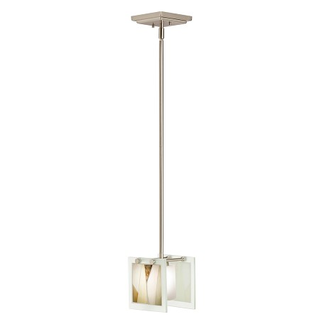 Kichler Brushed Nickel Khione Single-Bulb Indoor Pendant With Square Glass Shade