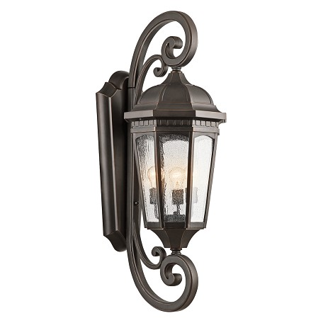 Kichler Rubbed Bronze Courtyard Collection 3 Light 40In. Outdoor Wall Light