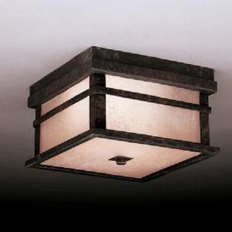 Kichler Aged Bronze 2 Light Outdoor Ceiling Fixture From The Cross Creek Collection