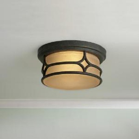 Kichler Aged Bronze 2 Light Outdoor Ceiling Fixture From The Chicago Collection