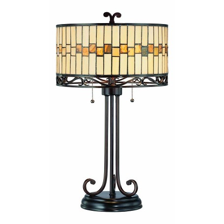 Lite Source Inc. Dark Bronze Tiffany Two Light Up Lighting Table Lamp