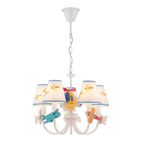 Lite Source Inc. White Aeroplani 5 Light 1 Tier Chandelier