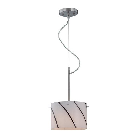 Lite Source Inc. Steel 1 Light Pendant Lamp With Striped Glass Shade