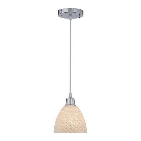 Lite Source Inc. Pendant Lamp Chrome/Scales Glass Shade Type A 60W