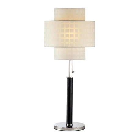 Lite Source Inc. 1 Light Table Lamp With Leather Pole White Grid Pattern Shade