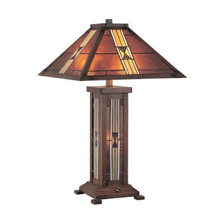 Lite Source Inc Bronze 1 Light Table Lamp With Tiffany