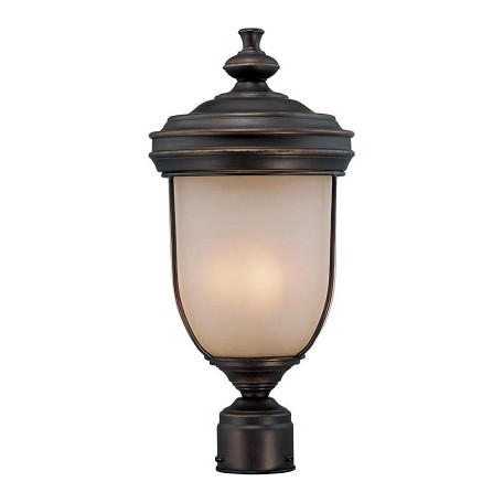 Lite Source Inc. Rust 3 Light Outdoor Post Lamp With Light Amber Glass