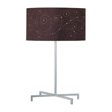 Lite Source Inc. 1 Light Table Lamp With Coffee Laser Cut Suede Shade