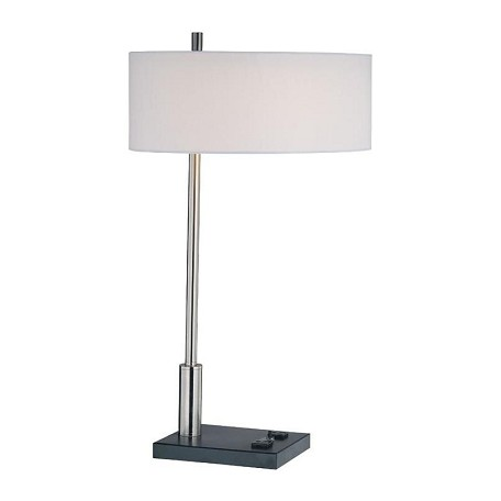 Lite Source Inc. Steel 1 Light Table Lamp With White Fabric Shade