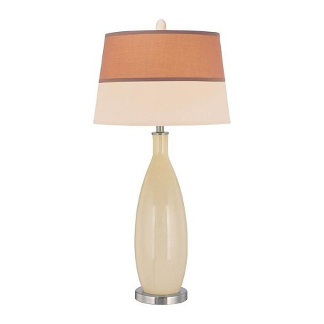 Lite Source Inc. Table Lamp With Glass Body Fabric Shade From The Gillespie Collection