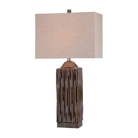 Lite Source Inc. Dark Walnut Single Light Up Down Lighting Table Lamp With Cream Shade