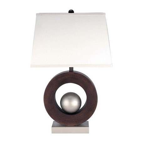 Lite Source Inc. Walnut Satin Steel Table Lamp From The Circuline Collection