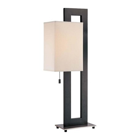 Lite Source Inc. 1 Light Table Lamp With White Fabric Shade From The Benito Collection