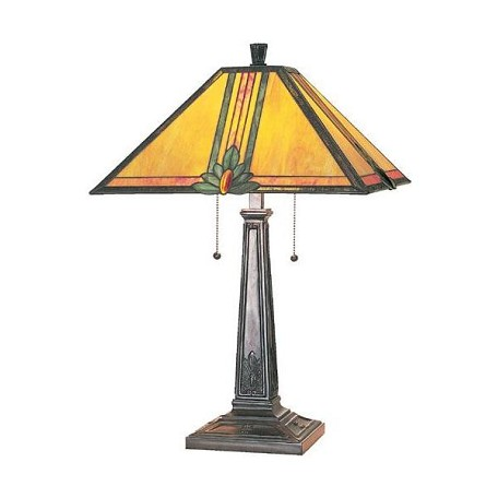 Lite Source Inc. Bronze Stained Glass Tiffany Table Lamp From