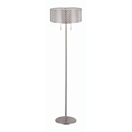 Lite Source Inc. Steel 2 Light Floor Lamp Polished Steel Net Metal Shade