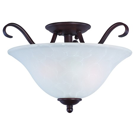 Maxim Two Light Oil Rubbed Bronze Ice Glass Bowl Semi-Flush Mount