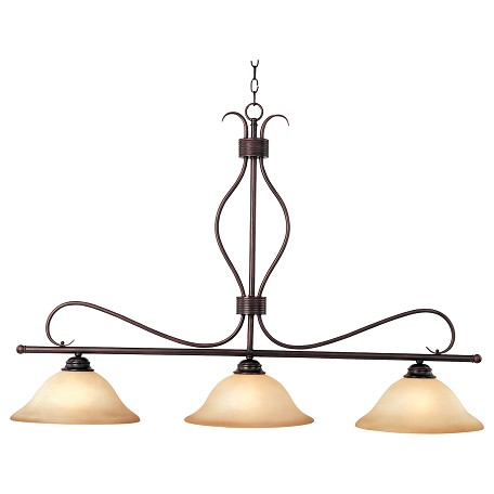 Maxim Three Light Oil Rubbed Bronze Wilshire Glass Island Light