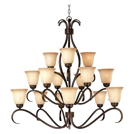 Maxim Fifteen Light Oil Rubbed Bronze Wilshire Glass Up Chandelier