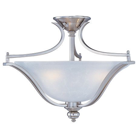 Maxim Three Light Ice Glass Satin Silver Bowl Semi-Flush Mount
