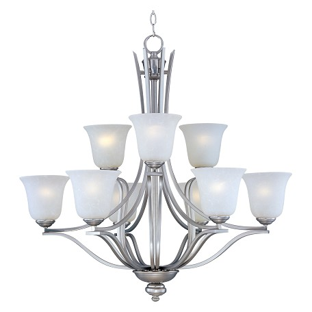 Maxim Nine Light Ice Glass Satin Silver Up Chandelier