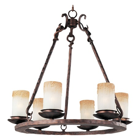 Maxim Six Light Oil Rubbed Bronze Wilshire Glass Candle Chandelier