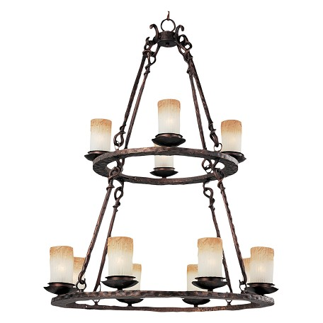 Maxim Twelve Light Oil Rubbed Bronze Wilshire Glass Candle Chandelier
